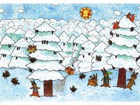 Světnice trpaslíků, zasněžený les  Sněhurka
