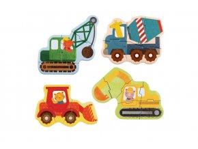 Petitcollage První puzzle stavební stroje poškozený obal