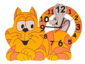 DoDo Dětské dřevěné hodiny kočka s myškou