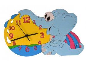DoDo Dětské dřevěné hodiny slůně