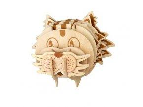 Woodcraft Dřevěné 3D puzzle hlava kočky