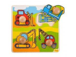 Bigjigs Toys Vkládací puzzle stavební stroje