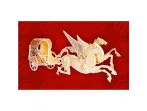 Woodcraft Drevené 3D puzzle zvířata létající koně