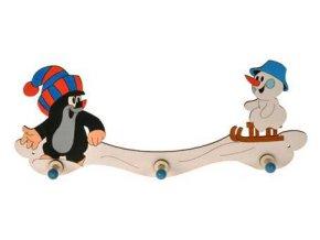 DoDo Dřevěný 3 věšáček Krtek a sněhulák