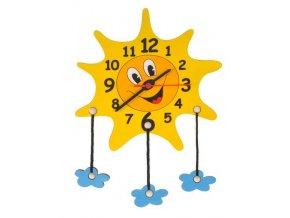 DoDo Dětské dřevěné hodiny sluníčko s mráčky
