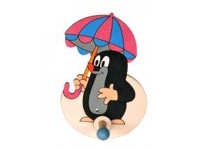 DoDo Dřevěný 1 věšáček krteček s deštníkem