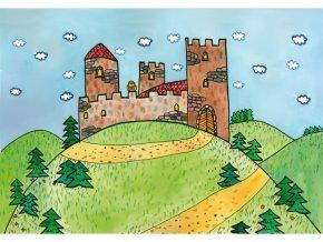 Velká královská sada loutky, kulisy, pozadí, 8 ks tyček (3)