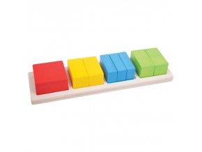 Bigjigs Toys Vkládací puzzle zlomky čtverce