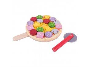 Bigjigs Toys Dřevěná krájecí pizza