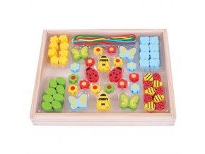 Bigjigs Toys Navlékací korálky Louka