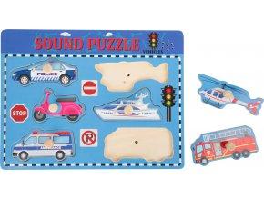 Small Foot Dřevěné puzzle se zvuky doprava