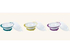 NUK Easy Learning Dětská miska se 2 víčky a přísavkou fialová NUK Easy Learning Dětská miska se 2 víčky a přísavkou fialová
