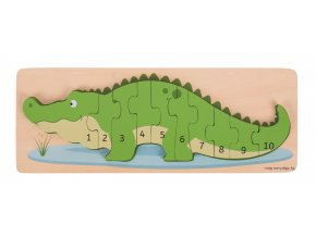 Bigjigs Toys Vkládací puzzle krokodýl s čísly