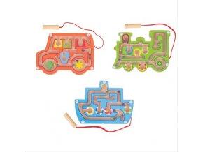 Bigjigs Toys dřevěný magnetický labyrint 1ks zelená Bigjigs Toys dřevěný magnetický labyrint 1ks zelená