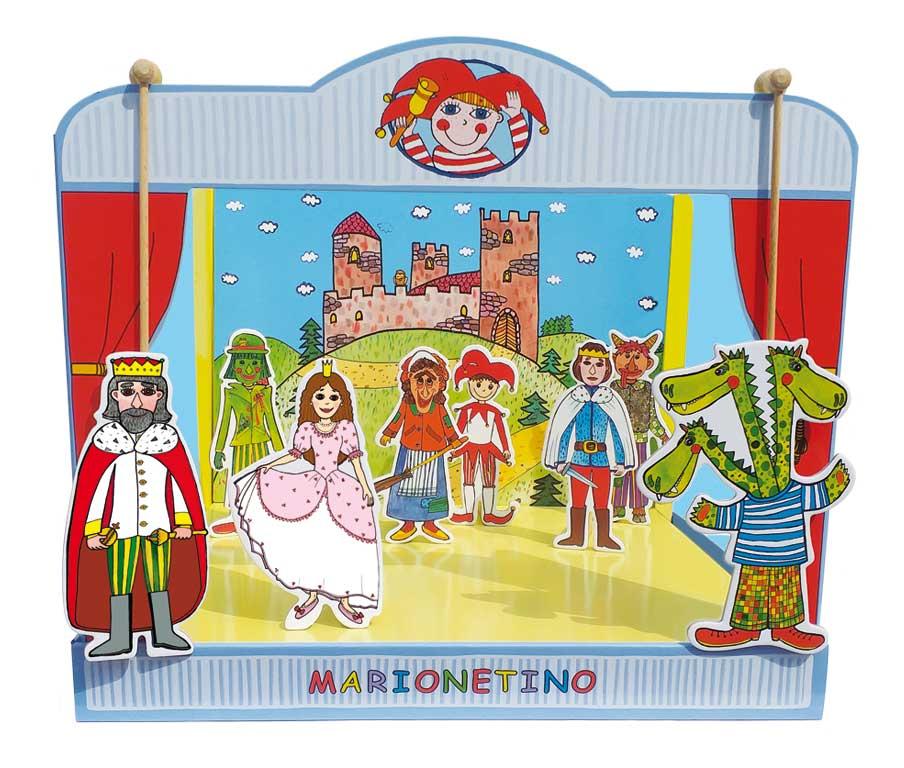 MARIONETINO Univerzální loutkové divadlo s princeznou, drakem, kašpárkem a dalšími loutkami