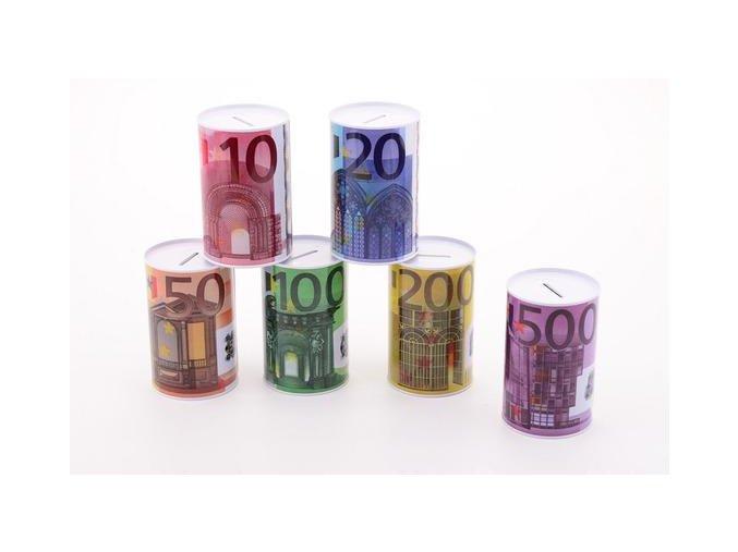 Plechova kasička s motivem peněz