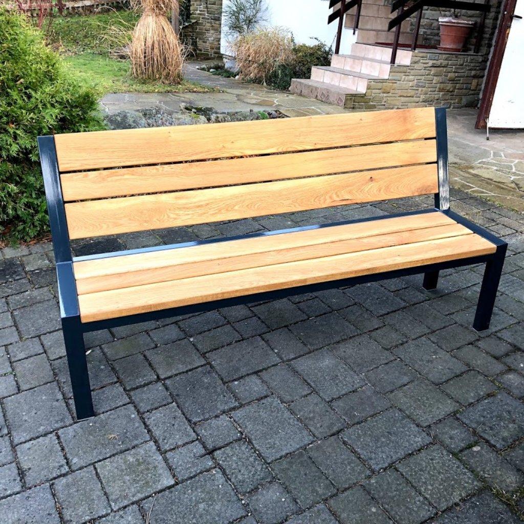 Zahradní lavice - dub a ocel