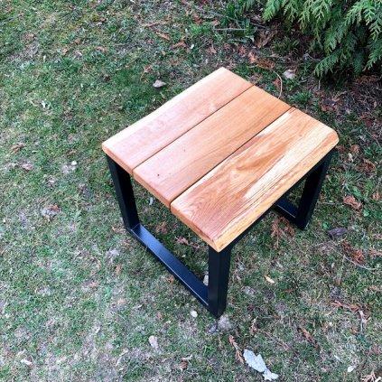 Zahradní stolička-dub a ocel