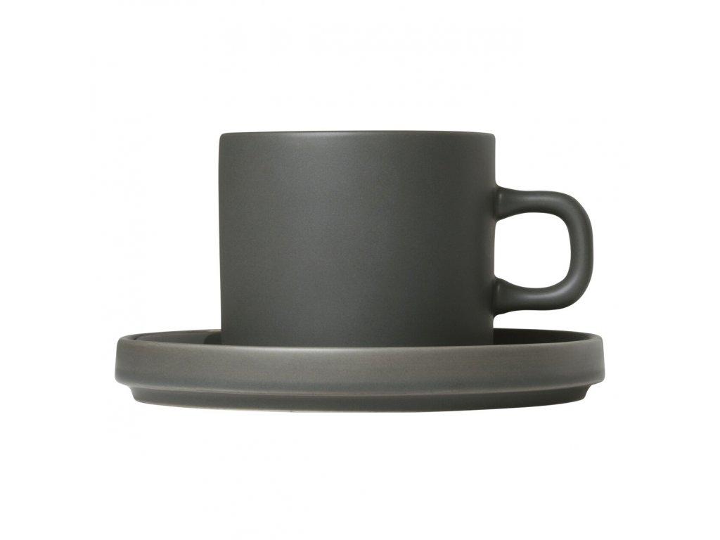 Sada 2 hrnků na kávu s podšálky Mio khaki 0,2 l