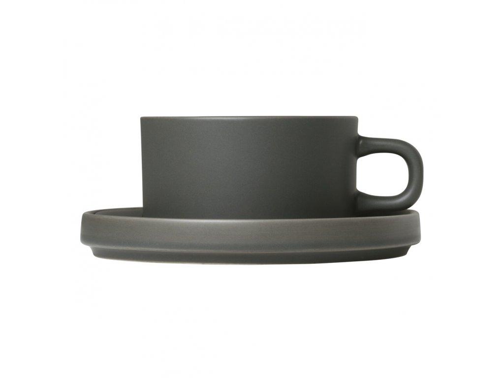 Sada 2 hrnků na čaj s podšálky Mio khaki 0,17 l Blomus