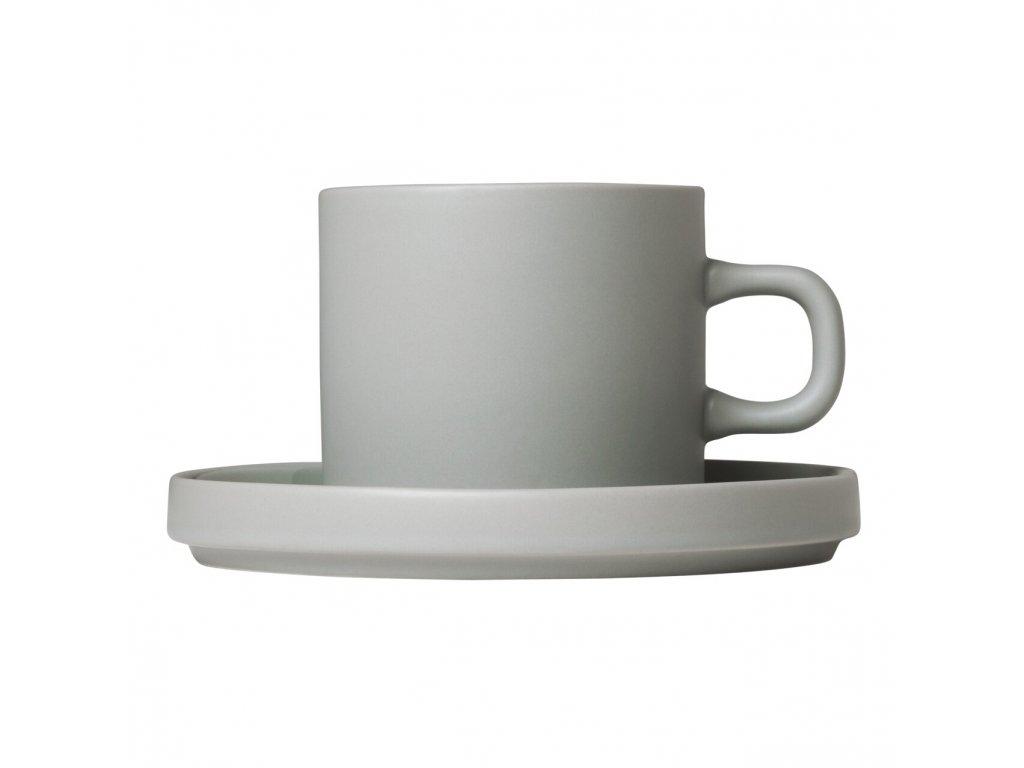 Sada 2 hrnků na kávu s podšálky Mio světle šedá 0,2 l