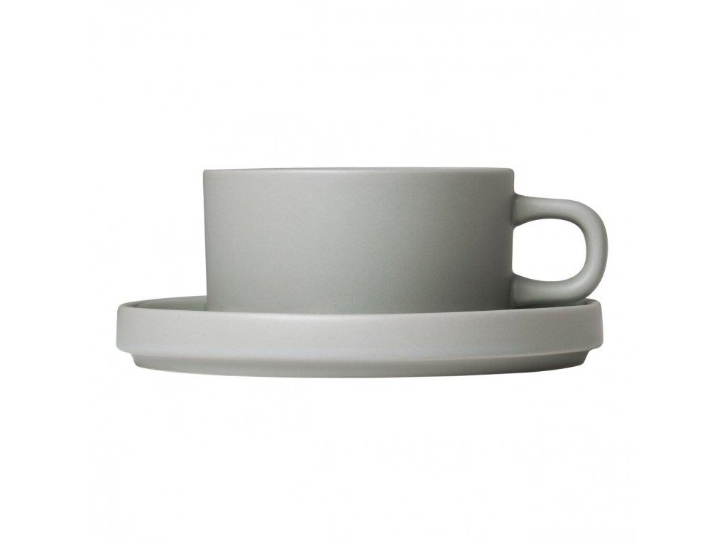Sada 2 hrnků na čaj s podšálky Mio světle šedá 0,17 l