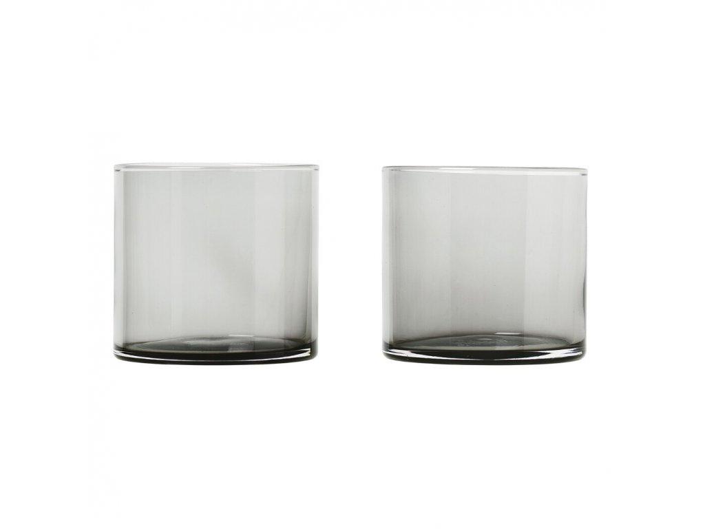 Set 2 skleniček MERA kouřové sklo 0,2 l