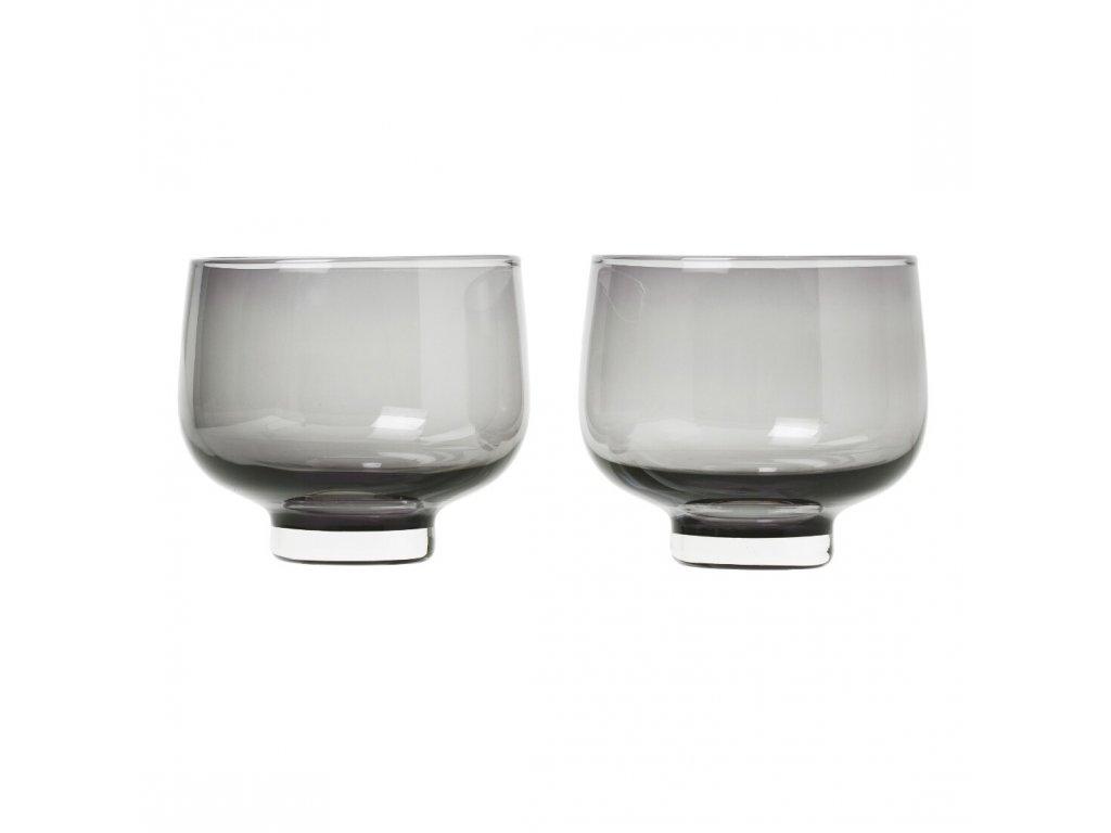 Set 2 skleniček FLOW kouřové sklo 0,22 l