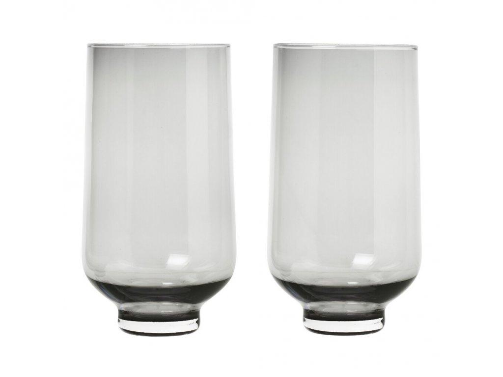 Set 2 skleniček FLOW kouřové sklo 0,4 l