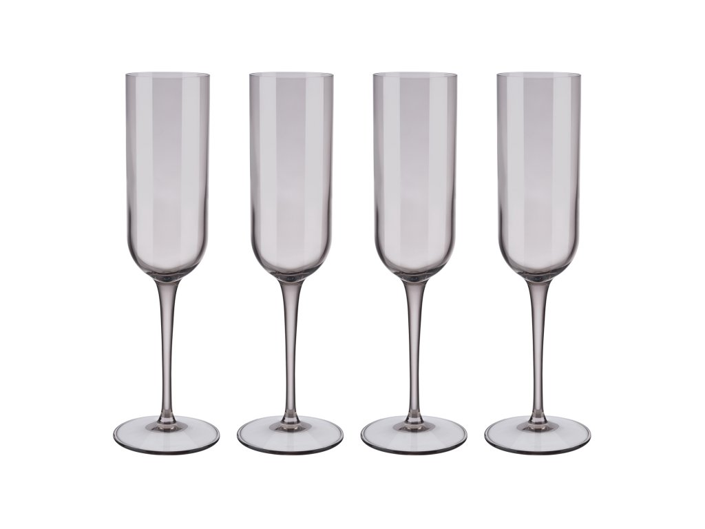 Set 4 sklenic flétna na šampaňské FUUM hnědé sklo