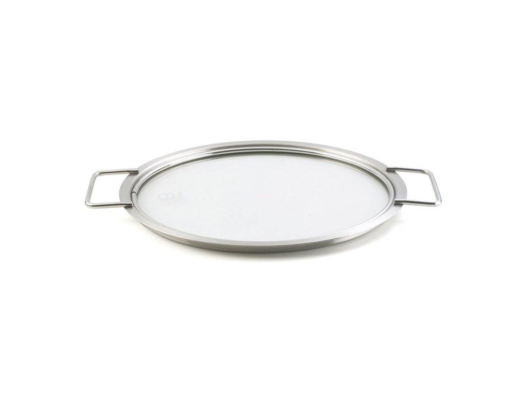 Plochá skleněná poklice 24 cm