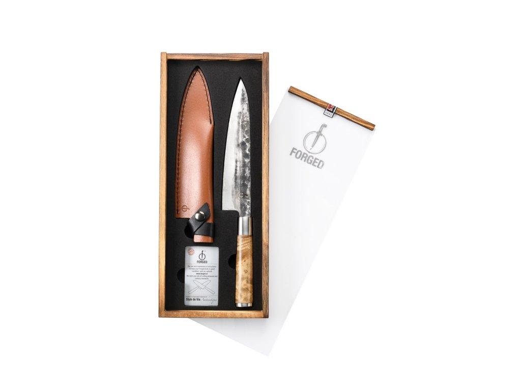 Kuchařský nůž Forged VG10 20,5 cm s koženým pouzdrem