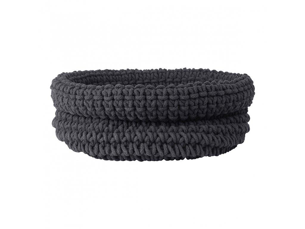 Pletený bavlněný koš COBO šedočerná