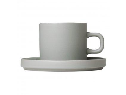 Sada 2 hrnků na kávu s podšálky Mio světle šedá 0,2 l Blomus