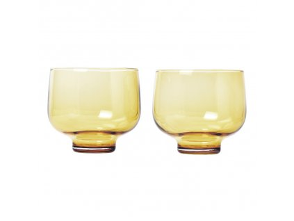 Set 2 skleniček FLOW matná zlatá 0,22 l