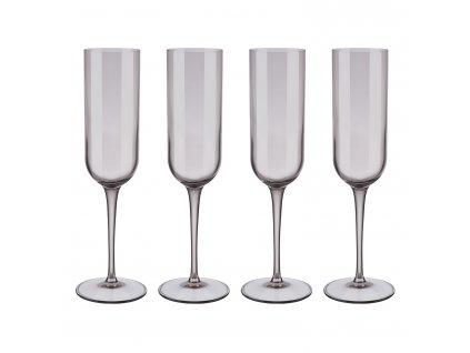 Set 4 sklenic flétna na šampaňské FUUM hnědé sklo Blomus