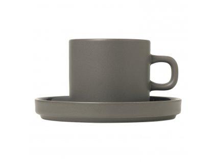 Sada 2 hrnků na kávu s podšálky Mio cínová 0,2 l