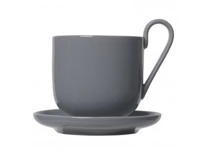 Set šálků na kávu s podšálkem RO tmavě šedý Blomus