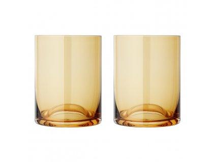 Set 2 sklenic thumbler WAVE zlatavé sklo