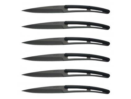 Sada steakových nožů 6dílná ABS rukojeť, titanium Bistro