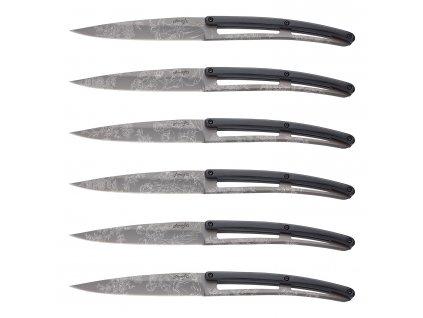 Sada steakových nožů 6dílná PaperStone®, titanium Toile de Jouy deejo