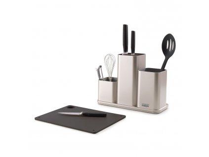 Organizér na kuchyňské náčiní a nože s prkénkem stříbrný CounterStore™