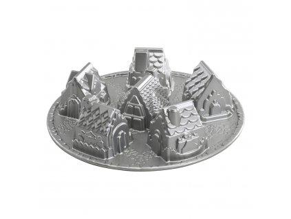 Forma na 6 chaloupek Cozy Village Bundt® stříbrná