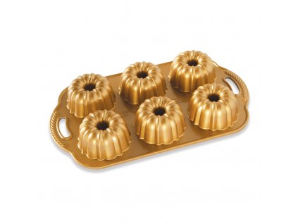 Forma na 6 báboviček Anniversary Bundlette Bundt® zlatá Nordic Ware