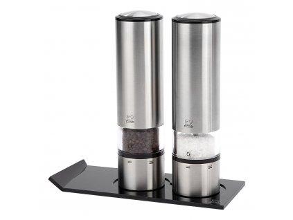 Dárkový set ELIS SENSE DUO, elektrický mlýnek na sůl, pepř a stojánek Peugeot
