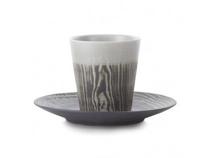 Hrnek na kávu 18 cl s podšálkem pepřový Arborescence REVOL
