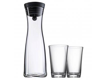 Set karafa na vodu černá Basic 1,0 l + 2 sklenice
