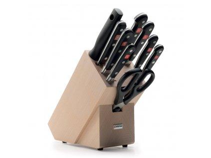 Sada nožů se světlým blokem, vidličkou na maso, ocílkou a nůžkami 10dílná Classic
