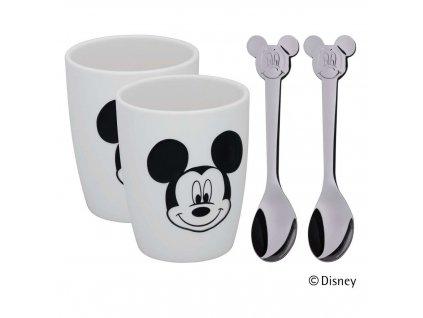 Set dvou větších šálků se lžičkami Mickey Mouse