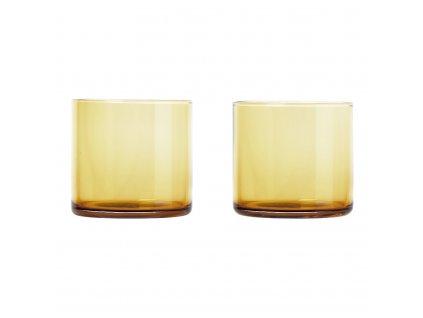Set 2 skleniček MERA matná zlatá 0,2 l